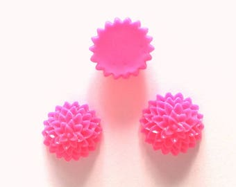 Set of 10 hot pink flowers 15 x 6 mm T3 cabochons
