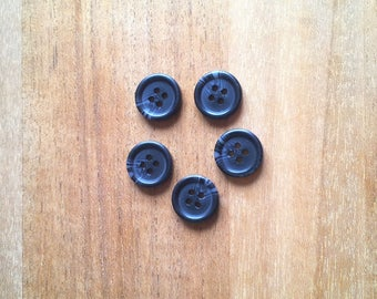 Set of 5 matte black buttons T27