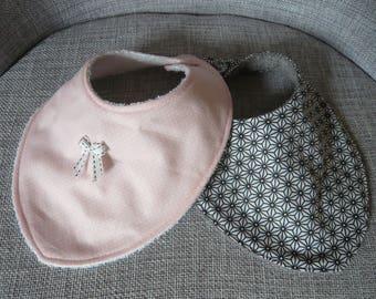 Duo of bibs, bandanas, Japanese patterns and polka dots, pink and gray