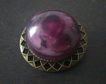 Brooch rose - purple and black
