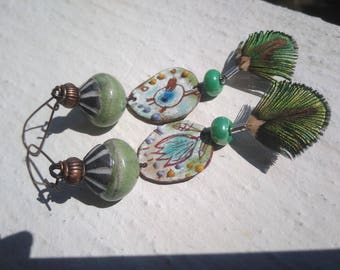 Earrings: Sketches Nature flowers and bird - version 2