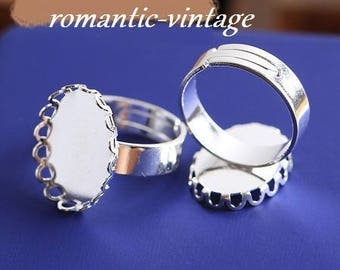 18 * 13mm: 2 adjustable rings, silver for 18 * 13mm cabochons