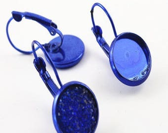 1 pair, supports earrings sleepers electric blue hard for 12mm cabochons