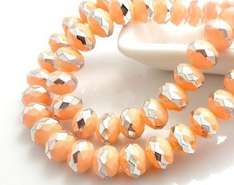 Stunning! 20 Crystal beads Pink salmon and Silver metallic effect, electroplates faceted 8mm