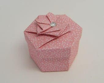 """Box hexagonal """"rhinestone and grain of rice"""""""