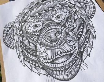 Original Mandala patterned animals; chimpanzee