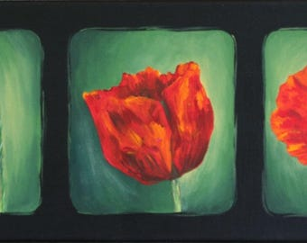 "FLOWERS - Acrylic painting on canvas ""Coquelictos triptych"""