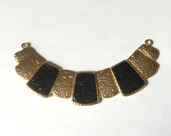 link necklace, black and gold metal