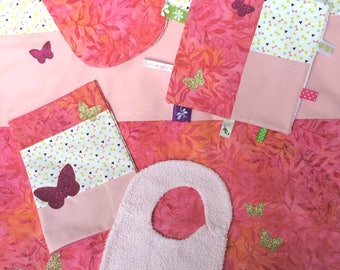 Set of blanket and baby butterfly patterns