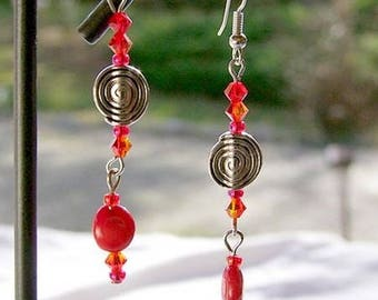 "Earrings inspired by native American ""coral passion"""