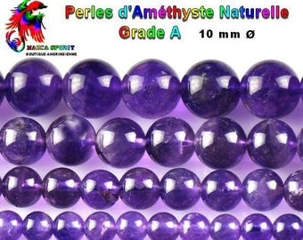 5 round beads Amethyst natural Grade A 10 mm drill hole 0.8 mm