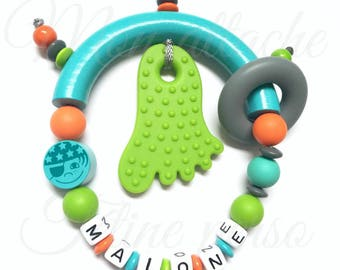"""Special teething rattle personalized ~ pirate model """"Malone"""""""