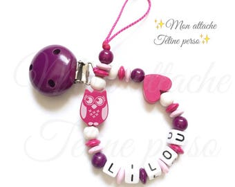"""personalized pacifier clip wood beads ~ cool model """"Lilly"""""""