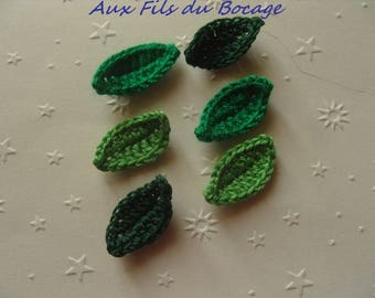 Leaves crocheted in green cotton, appliques, set of 6