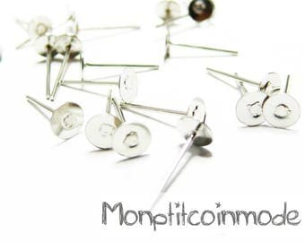 50 PCs (25 pairs) pin SUPPORTS silver EARRINGS 4mm