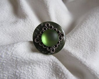 fancy ring button, print and green, Khaki and silver cabochon on Adjustable ring
