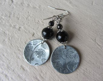 Ethnic earrings with round hammered antique silver engraved flowers and round black glass, black and silver beads, elegant earrings