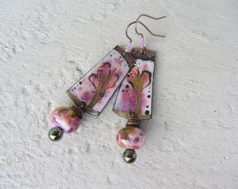Bohemian earrings, boho, copper rectangle charms enamel and Lampwork Glass rondelles, Teardrop glass on copper wire, pink and gold