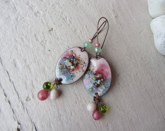sour candy earrings, oval charm on copper wire, pink and green enameled copper, Lampwork Glass drops, girly