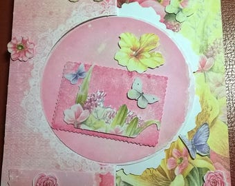 Pretty 3D card to ask bi-positions floral theme
