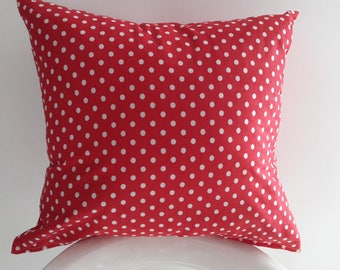 Cover cushion 45 x 40 cm red with white polka dots
