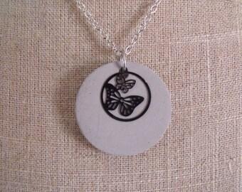 LIQUIDATION necklace silver chain pendant concrete creative