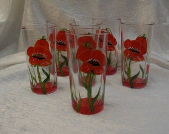 "Service 6 glasses orangeade 26cl handpainted model ""poppies"""