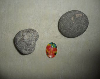 glass cabochon with colorful abstract geometric patterns, oval 18 x 25 mm