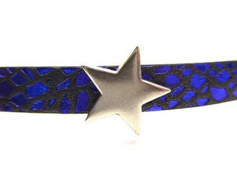Interleave star in silver plated zamak for leather 10 mms