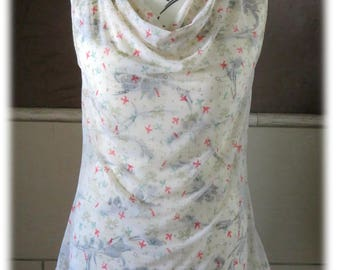 Cowl neck tank top shirt - printed birds and cages