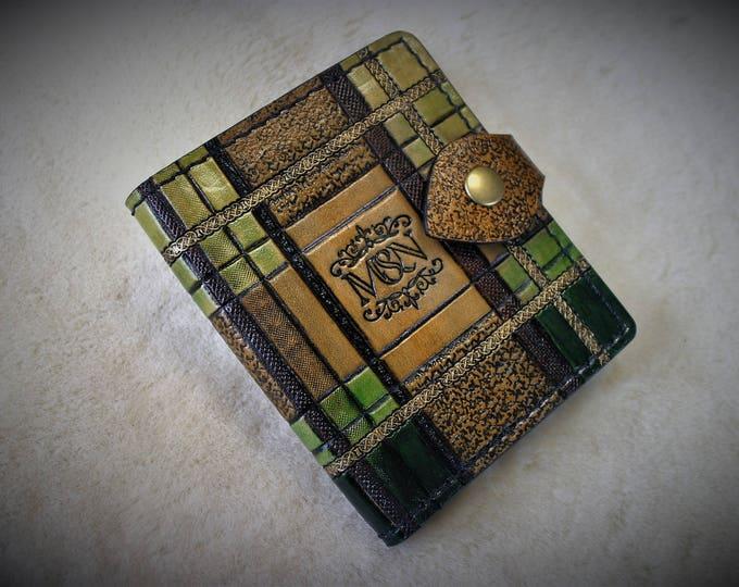 Elegant 2018 spirit OUTLANDER tartan Celtic Scottish tooled leather wallet wallet mixed man woman green Golden ocher