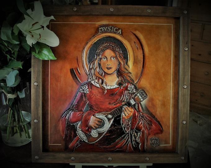 Painting on carved leather, original art, decoration, pré-raphaelite inspiration antique music player