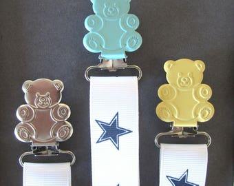 "Clip tie dummy/Suspender ""Teddy"" green pastel/metal/yellow pastel"