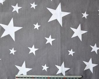 "Satin grey white ""stars"" pattern cotton fabric"