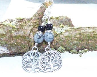 SNOW OBSIDIAN STONE EARRINGS AND BLACK