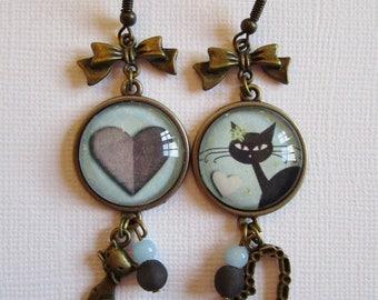 """Kitty Kitty"" pendant earrings, bronze cabochon, costume jewelry"
