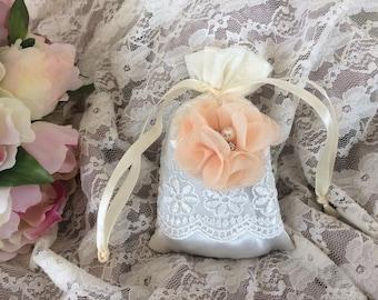 Free shipping! Lavender Orange shabby flower satin pouch