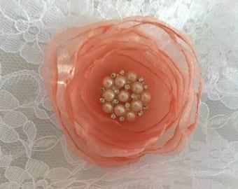 Flower 5 cm organza peach rhinestones with pearls