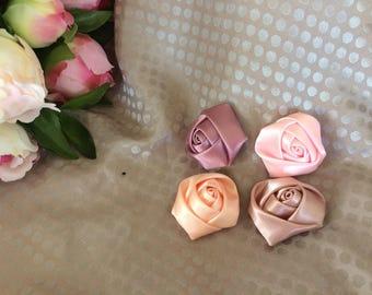 Set of four satin rose buds