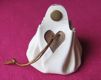 Worn purse wallet White Leather - gold handmade