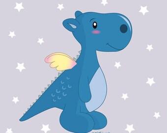 Coupon Minky T14- Petit Dragon Bleu
