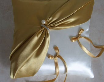 Gold and ivory satin ring bearer pillow