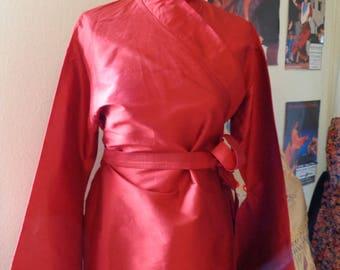 Red silk kimono jacket, size 40