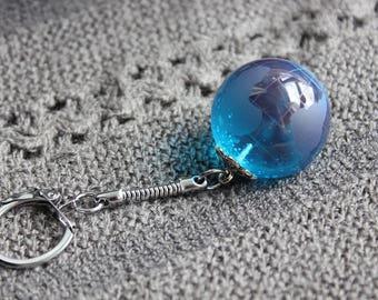 Porte-Clé Globe Terrestre 3 cm en résine bleue turquoise
