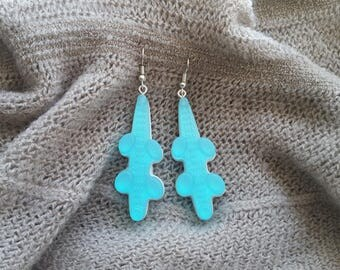 Resin earrings candy crocodile earrings Turquoise and white