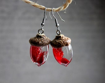 Earrings Acorn and resin, real hat, red grass inclusion