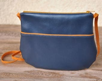 Small Messenger bag Blue Metallic Twist Mustard for girl