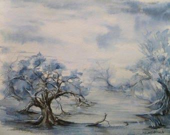 Landscape surreal blue time