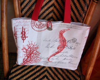 Bag in shades of red and gray, seahorse, Lighthouse.