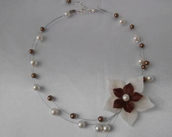 "Wedding necklace ""SYRRA"" child with chocolate & ivory silk flower"